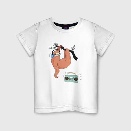 Детская футболка хлопок Ленивец слушает музыку