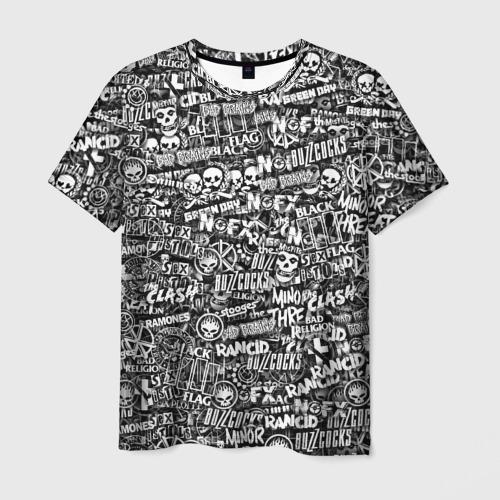 Мужская футболка 3D Панк-рок. стикербомбинг