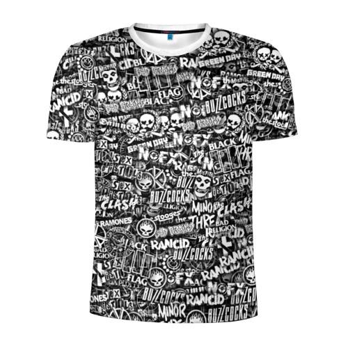 Мужская футболка 3D спортивная Панк-рок. стикербомбинг