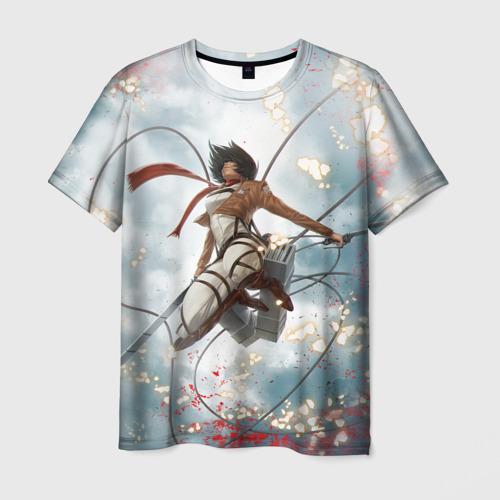 Мужская футболка 3D Летящая Микаса