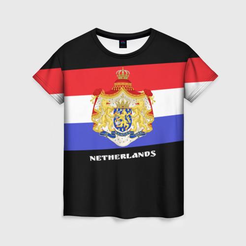 Женская футболка 3D Флаг и герб Нидерланды
