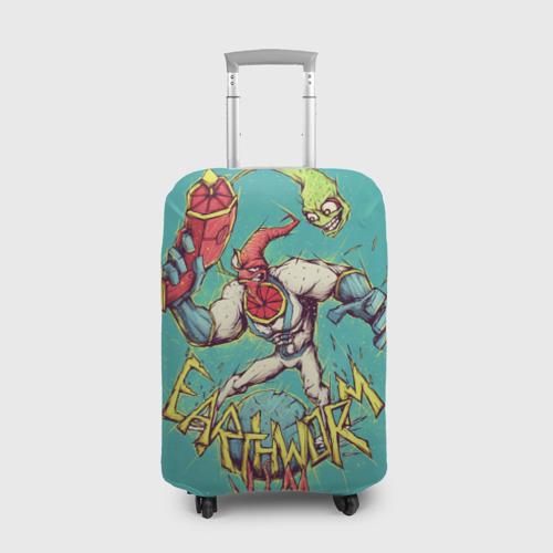 Чехол для чемодана 3D Червяк Джим