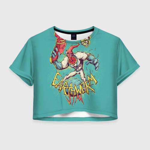 Женская футболка Crop-top 3D Червяк Джим