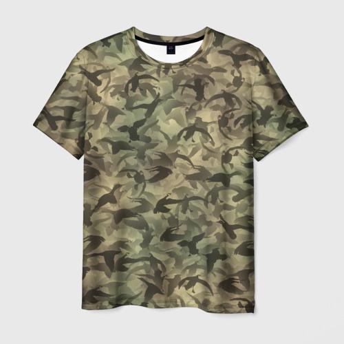 Мужская футболка 3D Охотничий камуфляж с утками