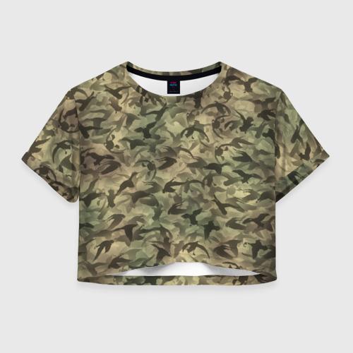 Женская футболка Crop-top 3D Охотничий камуфляж с утками