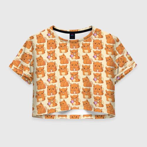Женская футболка Crop-top 3D Белка Декстер