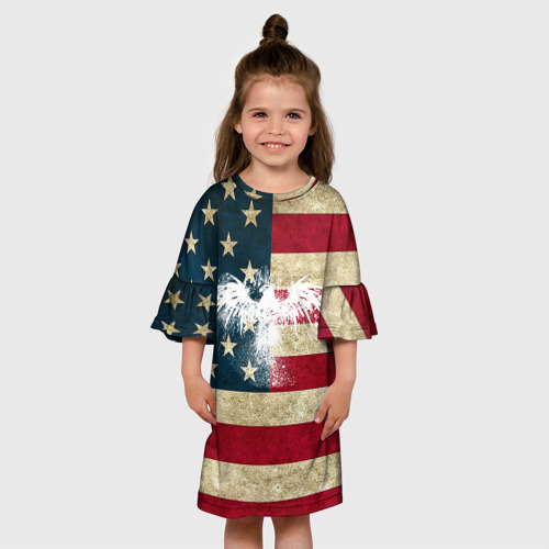Детское платье 3D Флаг США с белым орлом