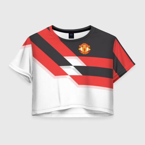 Женская футболка Crop-top 3D Manchester United - Stripe