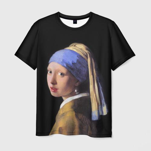 Мужская футболка 3D Девушка с Жемчужной Сережкой