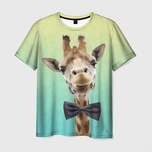 Мужская футболка 3D Жираф и бабочка