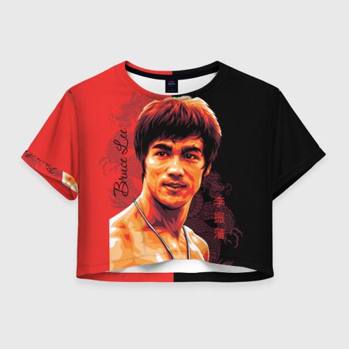 Женская футболка Crop-top 3D Брюс Ли