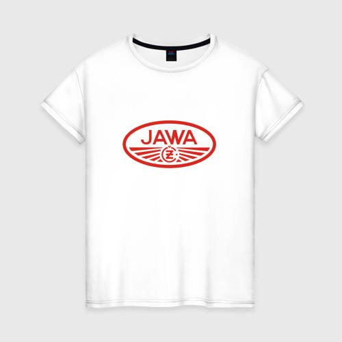 Женская футболка хлопок Мотоцикл Jawa логотип