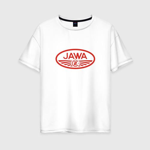 Женская футболка хлопок Oversize Мотоцикл Jawa логотип