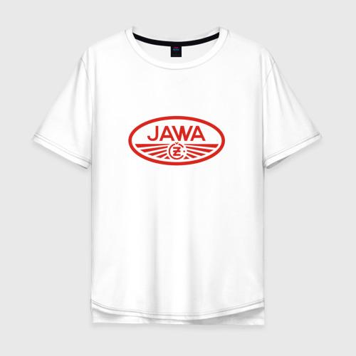 Мужская футболка хлопок Oversize Мотоцикл Jawa логотип