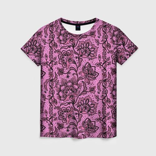 Женская футболка 3D Розовое кружево