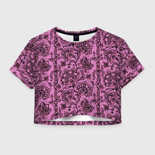 Женская футболка Crop-top 3D Розовое кружево