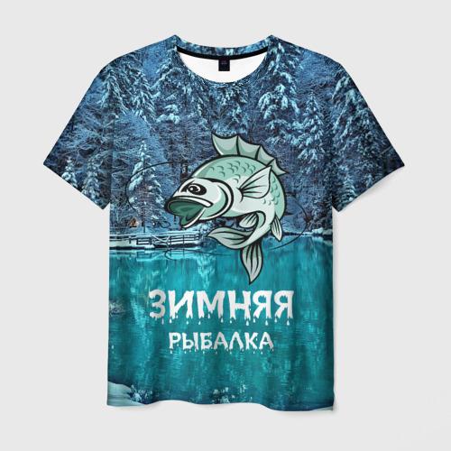Мужская футболка 3D Зимняя рыбалка