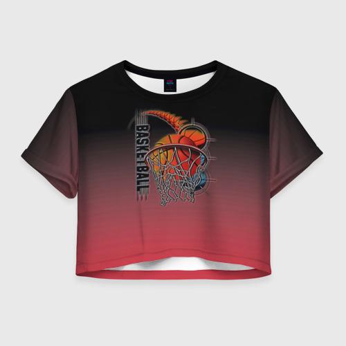 Женская футболка Crop-top 3D Баскетбольное кольцо
