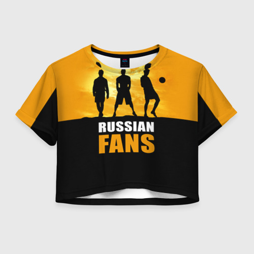 Женская футболка Crop-top 3D Русские фанаты
