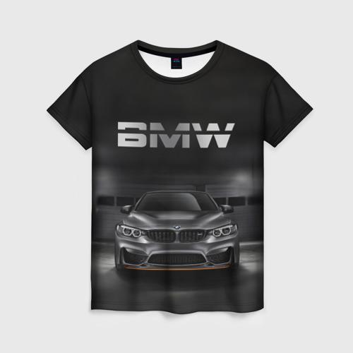 Женская футболка 3D BMW серебро