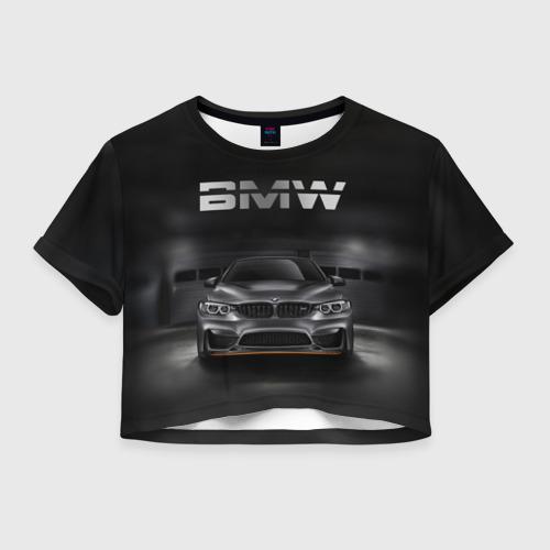 Женская футболка Crop-top 3D BMW серебро