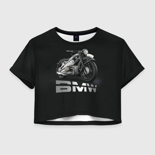 Женская футболка Crop-top 3D Мотоцикл BMW