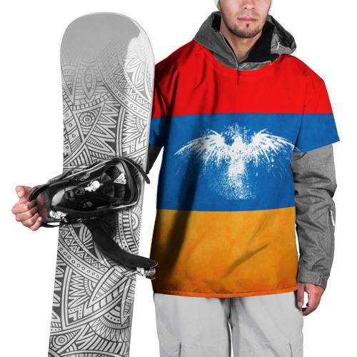 Накидка на куртку 3D Флаг Армении с белым орлом