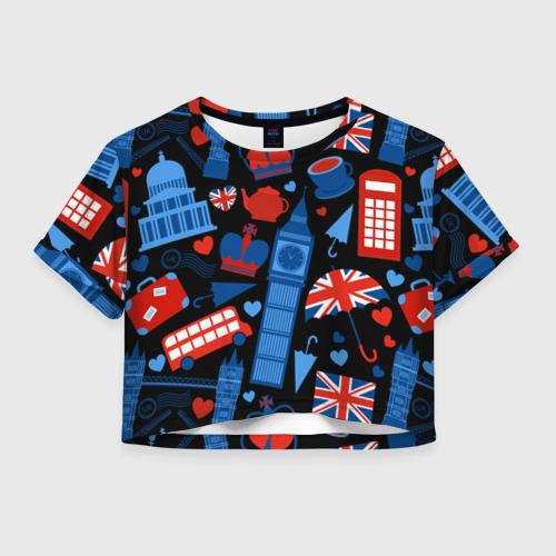 Женская футболка Crop-top 3D Великобритания
