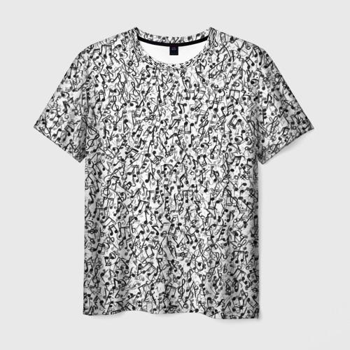 Мужская футболка 3D Музыкальные ноты