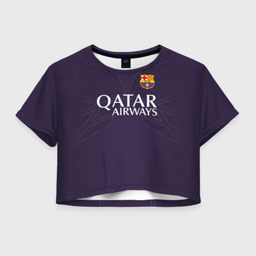 Женская футболка Crop-top 3D Barca Messi 1