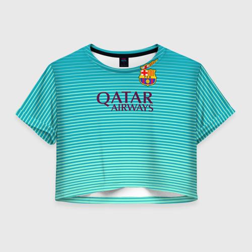 Женская футболка Crop-top 3D Aqua Messi