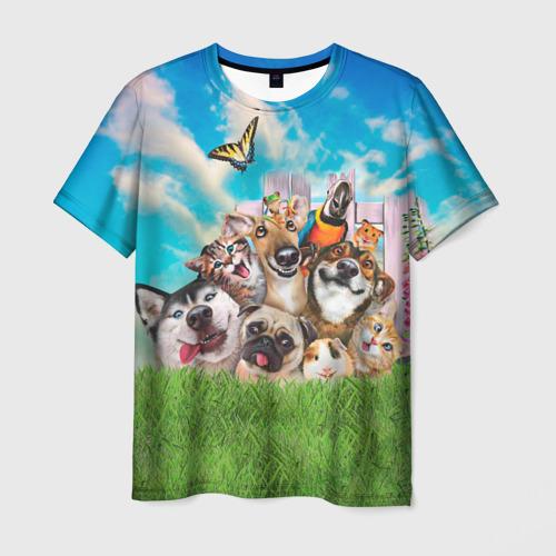 Мужская футболка 3D Пет-селфи