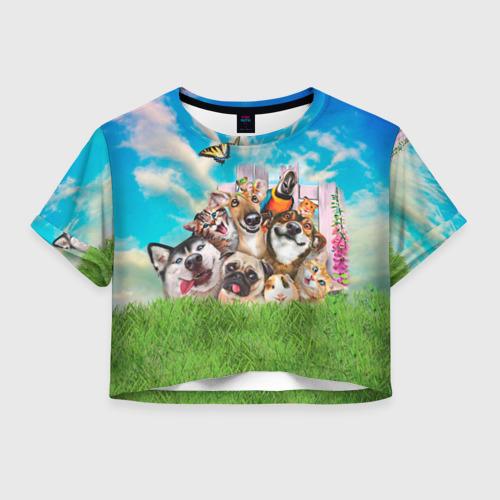Женская футболка Crop-top 3D Пет-селфи