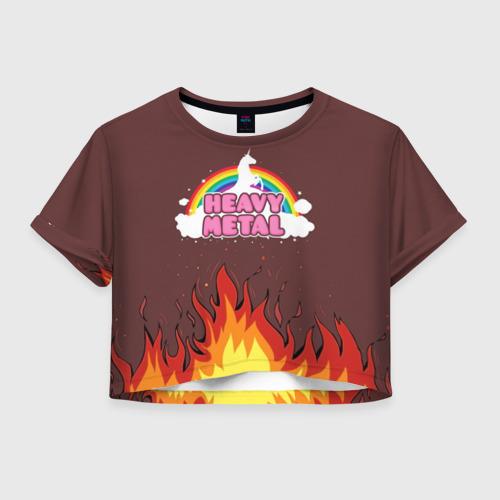 Женская футболка Crop-top 3D Heavy METAL