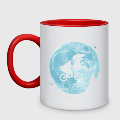 Кружка двухцветная Лунный велосипедист и Чужой