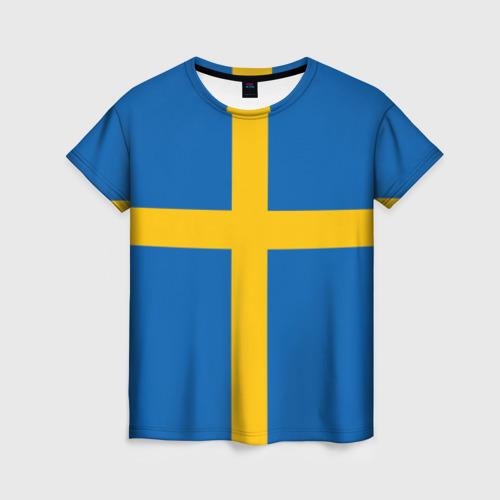 Женская футболка 3D Флаг Швеции
