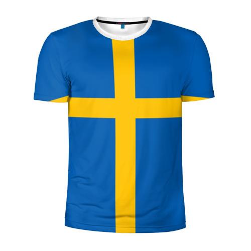 Мужская футболка 3D спортивная Флаг Швеции