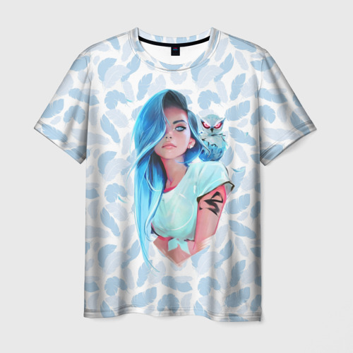 Мужская футболка 3D Девушка и сова