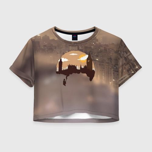 Женская футболка Crop-top 3D Шерлок Холмс Лондон