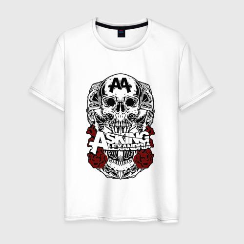 Мужская футболка хлопок Asking Alexandria розы и череп