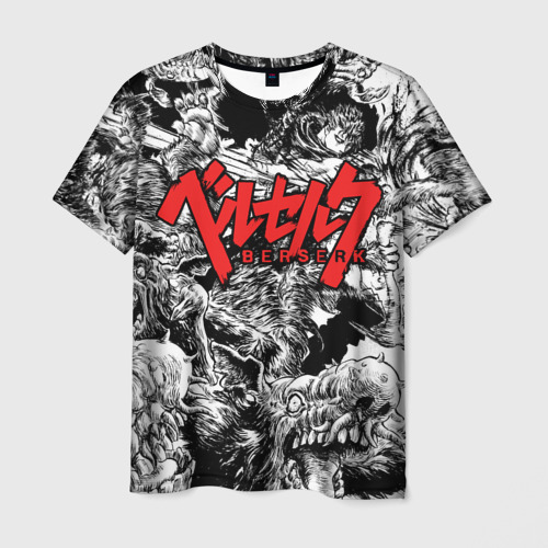 Мужская футболка 3D ЭПИЧНАЯ БИТВА! Гатс против монстров