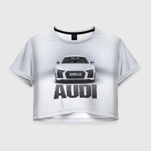 Женская футболка Crop-top 3D Audi серебро