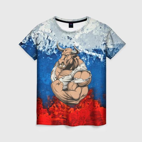 Женская футболка 3D Буйвол