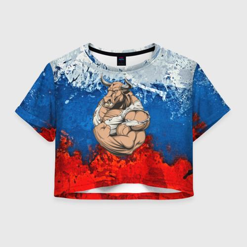 Женская футболка Crop-top 3D Буйвол