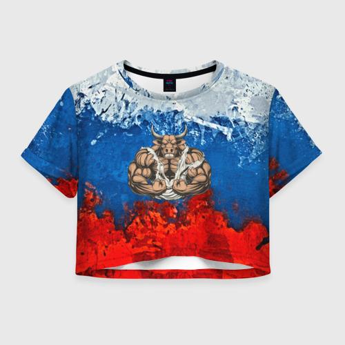 Женская футболка Crop-top 3D Бык триколор
