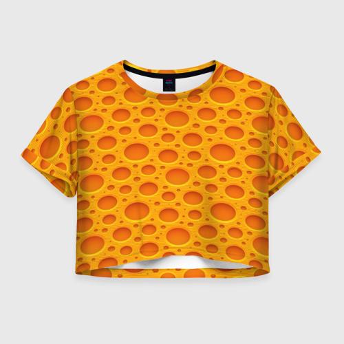 Женская футболка Crop-top 3D Сыр
