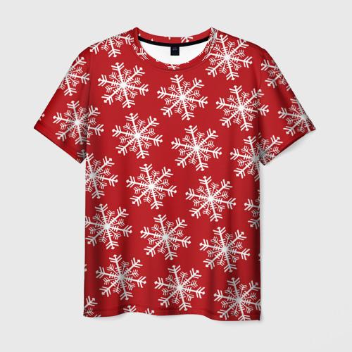Мужская футболка 3D Новогодние Снежинки