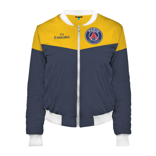 Женский бомбер 3D Paris Saint-Germain - Navy Yellow (Collections 2018)