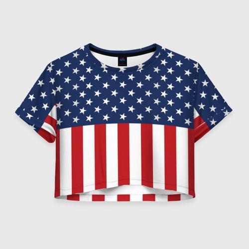 Женская футболка Crop-top 3D Флаг США
