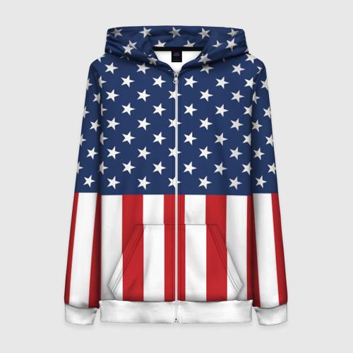 Женская толстовка 3D на молнии Флаг США